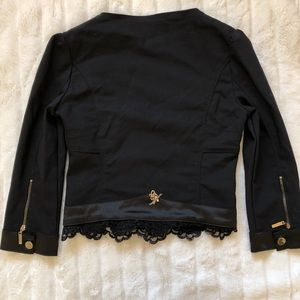Stretch Crop Black Jacket with Zipper & Lace Trim